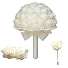 Ivory white and Tiffany Rose Bridesmaid Wedding Foam flowers Bridal bouquet Ribbon  Customized Bouquets set T1380