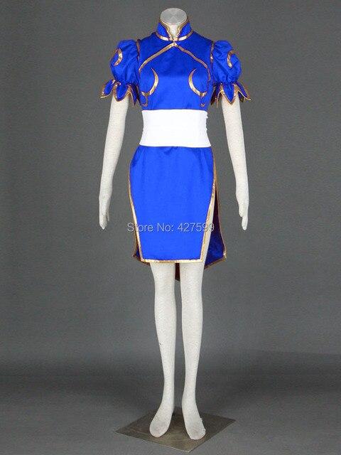 1ee5167cf Street Fighter Blue Chun Li Cosplay Costume Halloween Costumes Women Dress  Cheongsam With Free Shipping