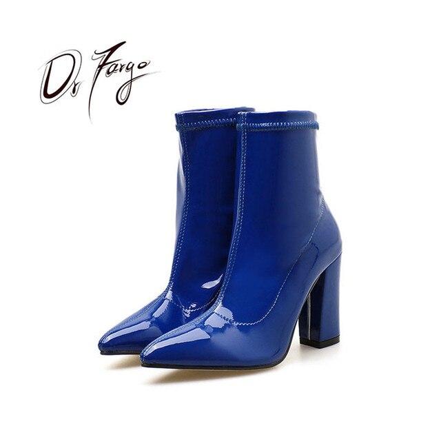55134466f7f DRFARGO zapatos de primavera de las mujeres 10 cm cuadrada tacón alto  estiramiento Slip en tobillo