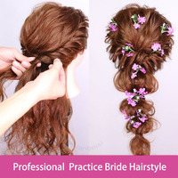 Professional Bride Hairstyles Practice Mannequin Head Beauty Training Head For Hairdressers 80%Human Hair Dolls With Stand