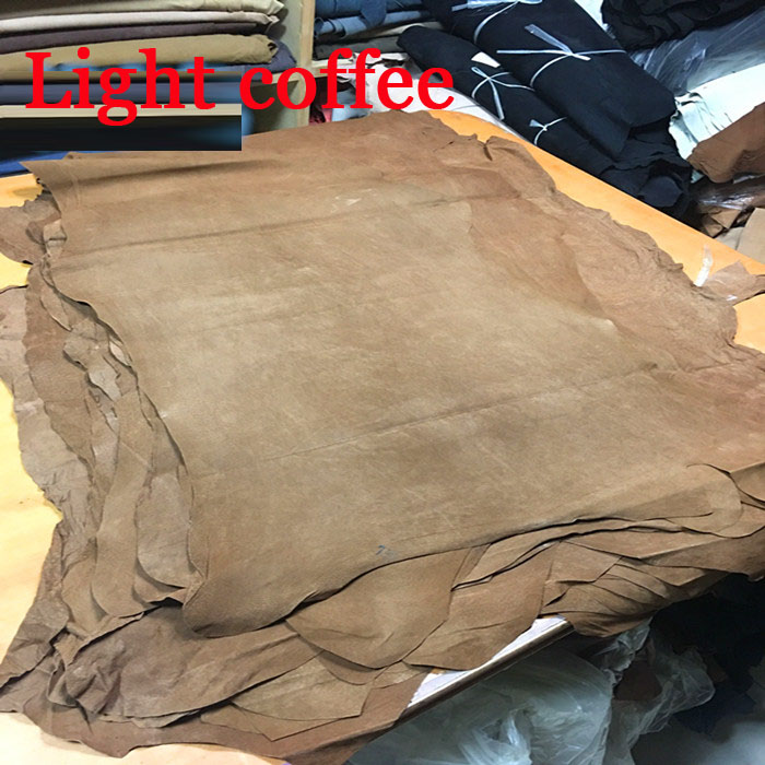 Light coffee Genuine pig split suede leather material whole piece image