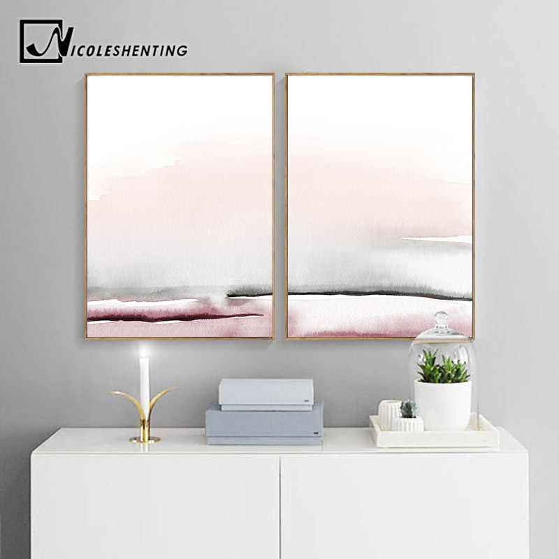 Watercolor Landscape Abstract Canvas Poster Nordic Minimalist Wall Art Print Painting Decoration Picture Scandinavian Home Decor