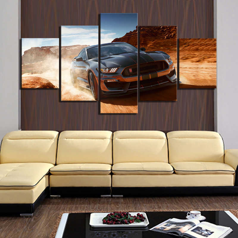 5 Piece HD Luxury Car Pictures Ford Mustang Car Poster Artwork Landscape Wall Art Canvas Paintings for Home Decor