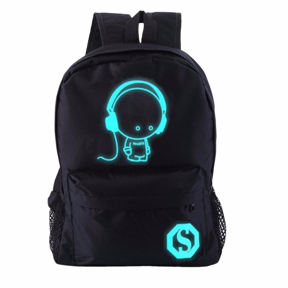 OUTAD Luminous Backpack Musical Boy Printing Nylon Student School Bag Rucksack For Teenager Boy & Girl