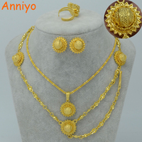 Small Size Ethiopian Set Jewelry For Women Girl 24k Gold Plated Hair Chain Earrings Ring Necklace