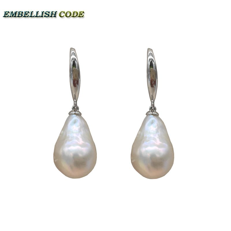 special Normal size baroque pearl nucleate stely hooking earring flame ball shape white natural freshwater 925 Sterling silver