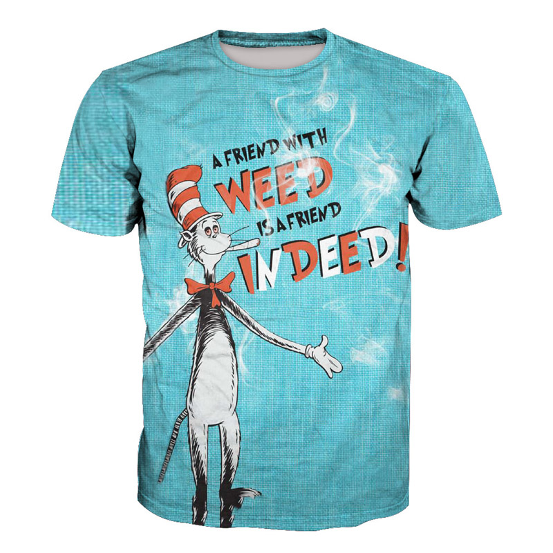 Cute Acrobatic Cat A FRIEND WITH Weed IS A FRIEND INDEED Print 3D T-shirt