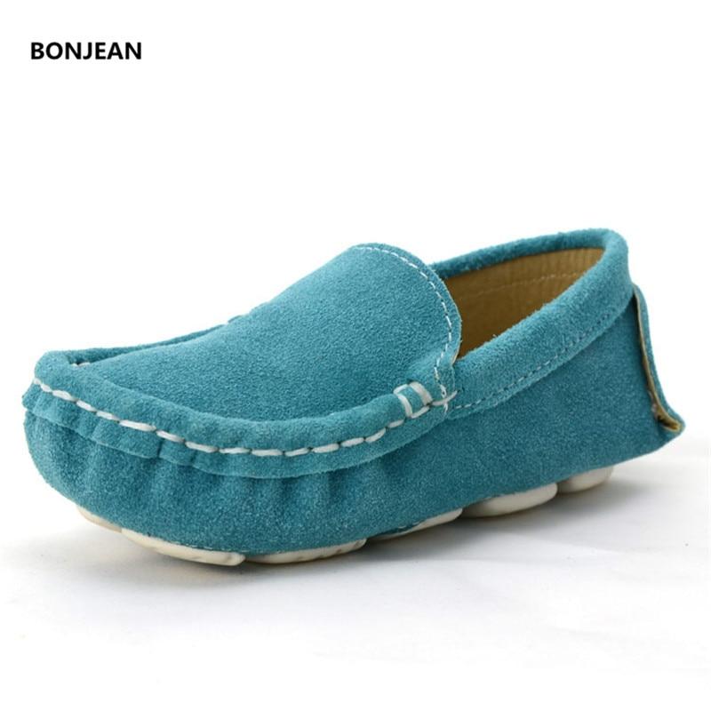 Girls Shoes Elegant Suede Sneakers Slip on Genuine Leather Boys Sneakers Teen Girls Flat Ballet Shoes Blue Black Purple Green suede