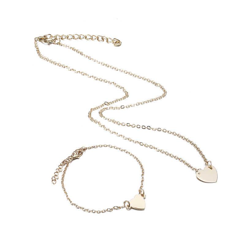 X179 Trendy Einfache Dubai Schmuck-Sets Für Frauen Herz Geformt Gold/Silber Farbe Kette Halskette & Armband 2 stücke schmuck Set Weibliche