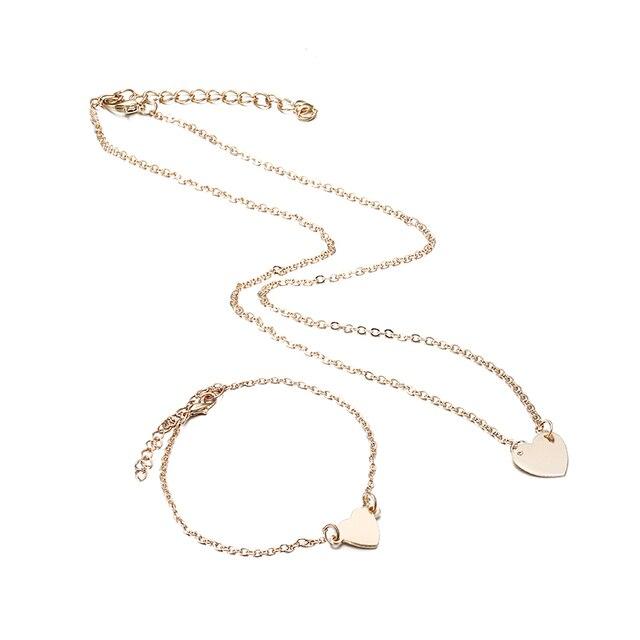 X179 טרנדי פשוט קובע לנשים בצורת לב זהב/כסף צבע שרשרת שרשרת & צמיד 2 pcs תכשיטי סט נשי