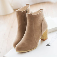 2019 New Women Ankle Boots Comfort Low Heels Shoes Woman Short Riding Booties Sexy High Heels Plus Size 35-41(China)