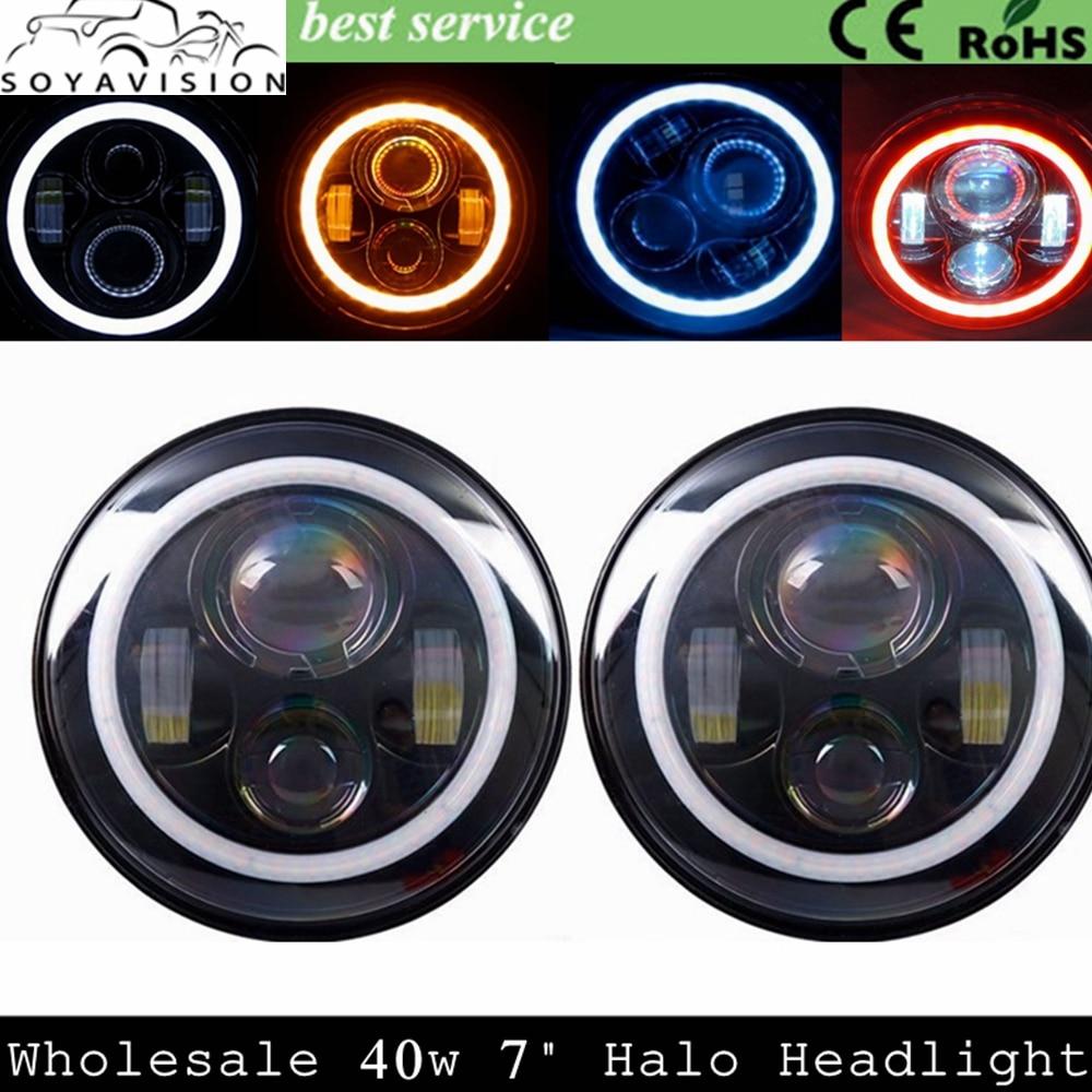 "Prix pour 7 pouces LED Halo Phares Kit 7 ""LED Phare H4 Salut/bas Auto Phare Avec Angle Eye Pour Jeep Wrangler JK TJ Hummer Defender"