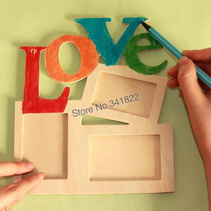 Kids handmade Photo Frames colored drawing Kids DIY Love\'s Wooden ...