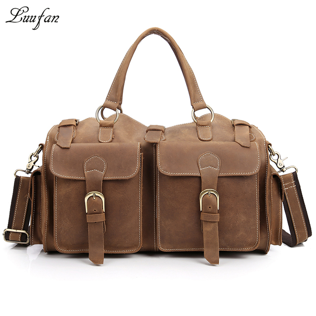 6f90e87bce Men s Vintage Crazy horse Leather travel duffel Genuine leather travel bag  17