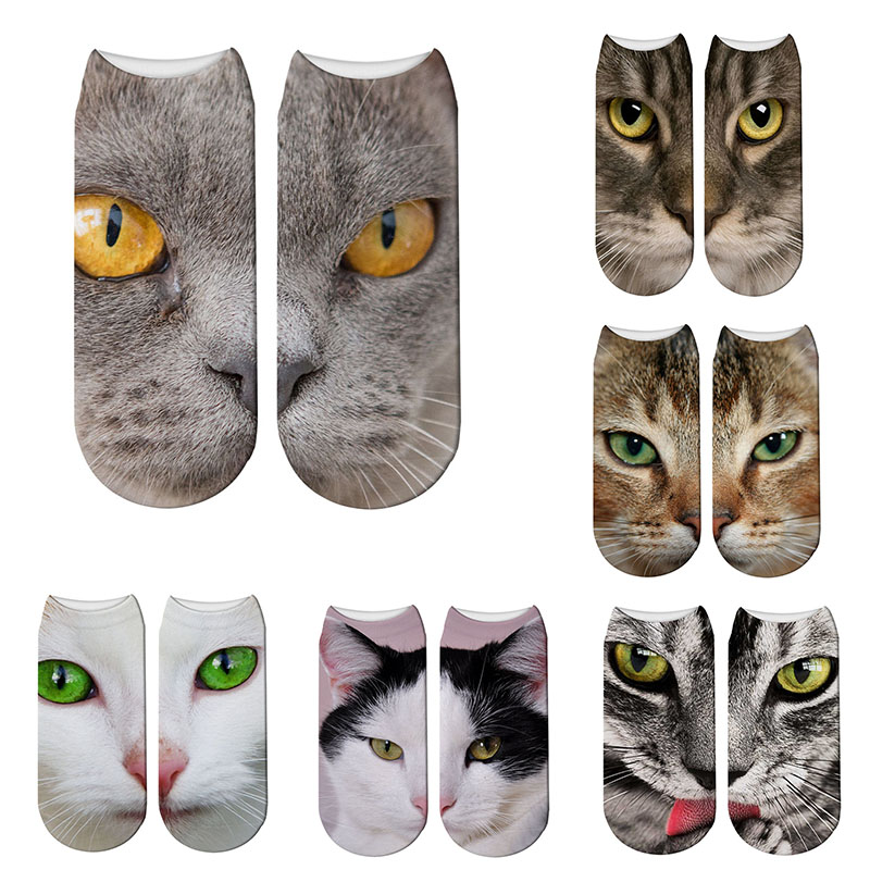 2019 New 3D Printing Women Socks Cotton Sock Fashion Unisex Animal Socks Cat Meias Female Funny Low Ankle Sock 7S-ZWS40