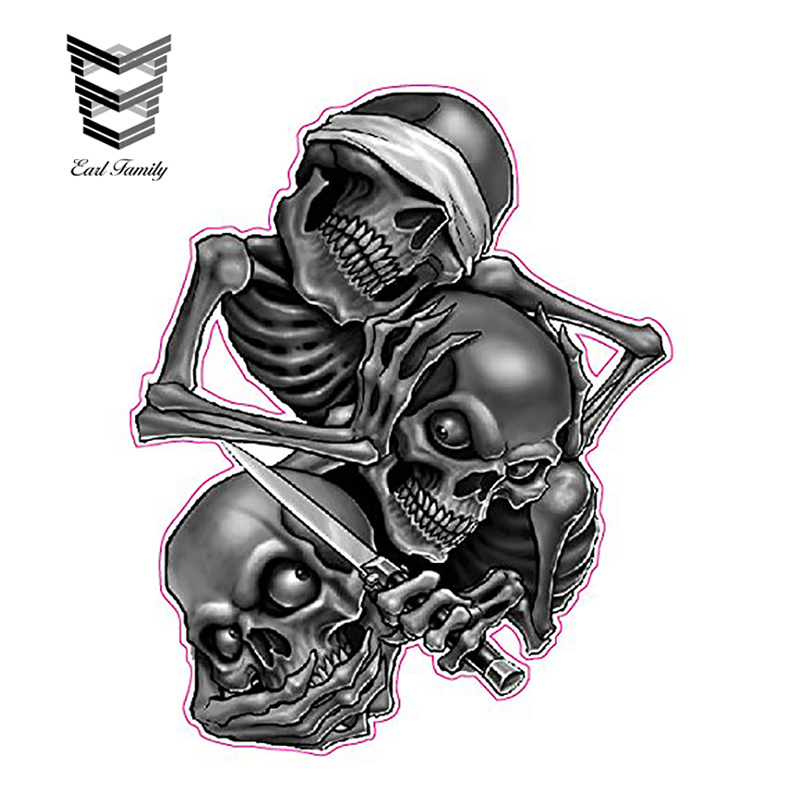 EARLFAMILY 13cm X 10.5cm See No Evil Skull Car Styling Bumper Window Reflective Decals Auto Covers Waterproof Car Stickers