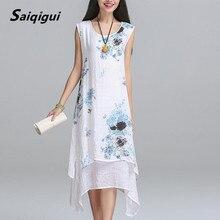 Saiqigui Лето dress Новая Мода рукавов женщины dress casual cotton Linen dress Отпечатано о-образным вырезом плюс размер vestidos де феста