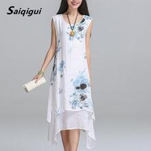 Saiqigui Summer dress New Fashion sleeveless women dress casual cotton Linen dress Printed o-neck plus size vestidos de festa