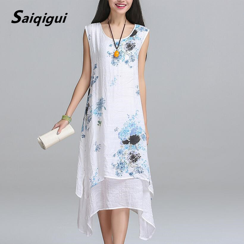 Saiqigui Summer <font><b>dress</b></font> New Fashion sleeveless women <font><b>dress</b></font> casual cotton Linen <font><b>dress</b></font> Printed o-neck plus size vestidos de festa