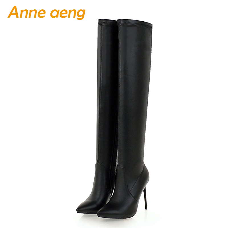 New Winter Women Over-The-Knee Boots High Heel Pointed Toe Zipper Sexy Ladies Women Shoes Black Thigh High Boots Big Size 33-46 women genuine real leather over the knee boots winter boots sexy high heel fashion round toe zipper women boots shoes size 33 42