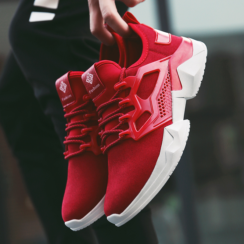 New Super Cool Running shoes men sneakers Red suede Lightweight male Outdoor Athletic sport jogging Trainers shoes men