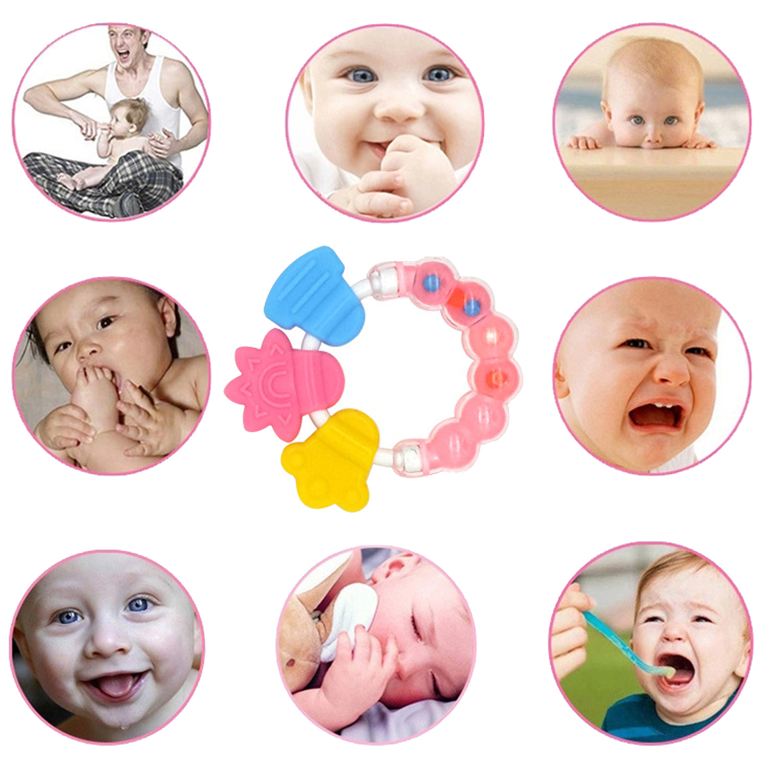 Baby Safe Cartoon Silicone Teether Toys Chew Teething Ring Handbell Jingle Educational Grip Molar Spin Rattle&Mobiles Toy