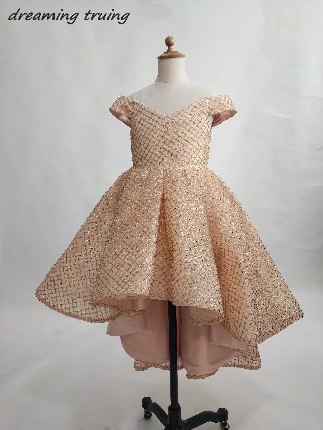 2018 Custom Ball Gowns Rose Gold Flower Girl Dresses Front Short Back Long Girl Pageant Dress Wedding Party Gown Vestido Daminha