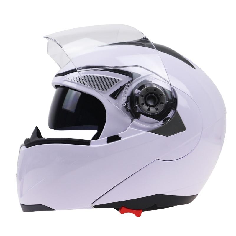 Professionale Doppio Vetro Moto Casco Jiekai Flip Up Casco moto 22 opzione disponibile con interno sunglass nero