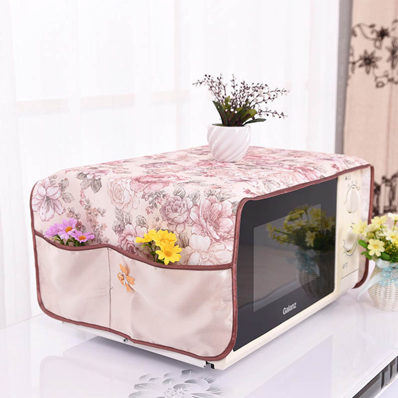 Rural Style Cotton Microwave Cover Microwave Oven Hood 1pcs Home Decor Double Pockets Storage Bag Waterproof