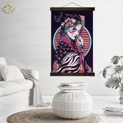 Japanese Make-up Geisha Modern Wall Art Print Pop Art Posters and Prints Scroll Canvas Painting Wall Pictures for Living Room