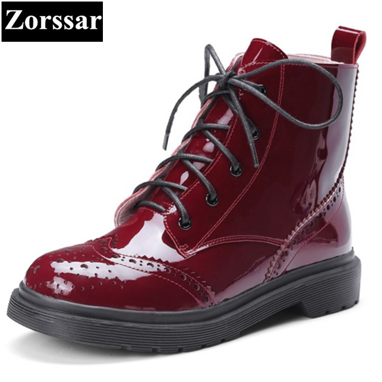 {Zorssar} 2017 NEW Casual lace-up patent leather Flat heel ankle Boots flats women Martin boots Spring autumn women shoes zorssar 2018 woman fashion genuine leather ankle martin boots female slip on flat heel casual short shoes spring autumn shoes