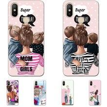 Fashion Black Brown Hair Baby Super Mom Girl Queen 01 Case Silicone TPU Cover For Huawei P8 P9 P10 P20Lite P9LITE P20Plus
