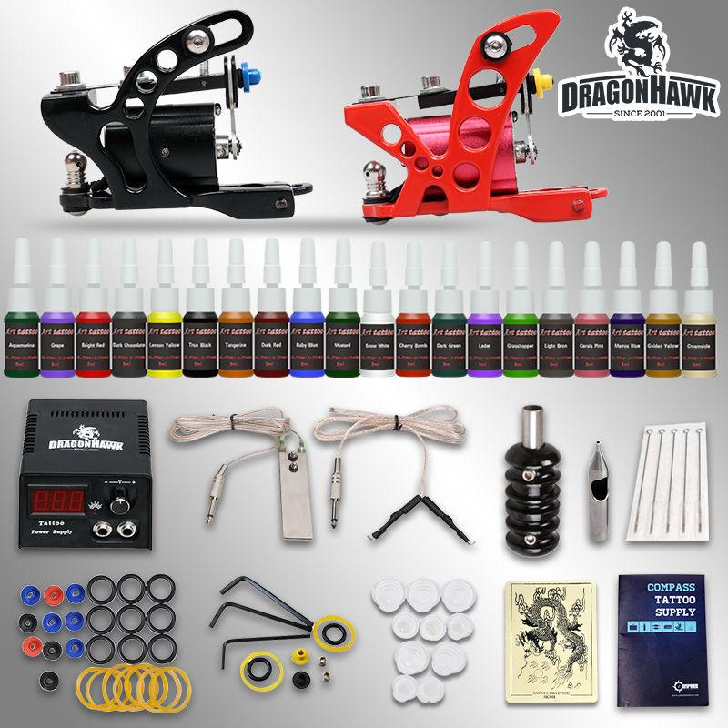 все цены на  Starter tattoo kit 2 guns machines 20  ink sets power supply  needle tips  D175GD-7  онлайн