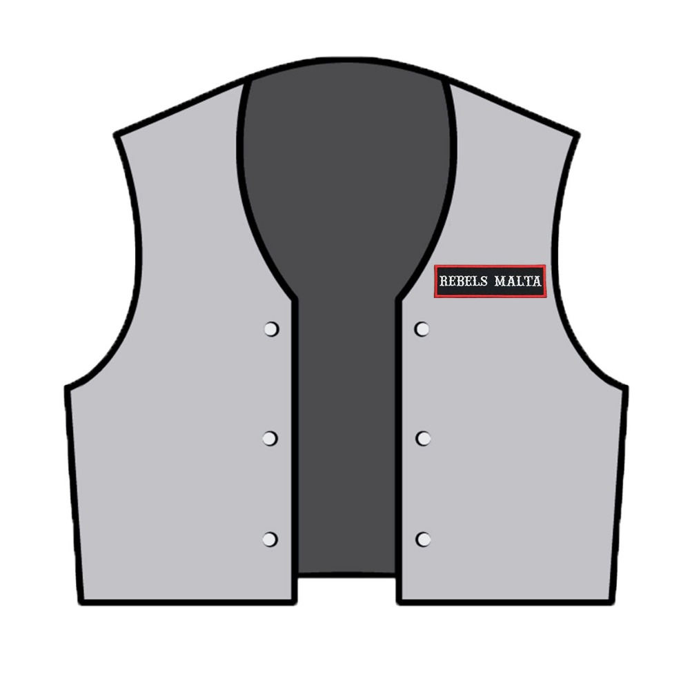 51f629e76d216 ... CRUSADERS AUSTRALIA MC Vest Embroidered Iron On Back of Jacket Patch  Black and White twill fabric ...