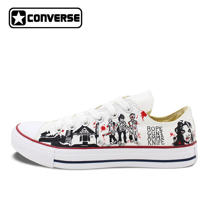 2017 Low Top Converse All Star Men Women's Shoes Custom Design Walking Dead Hand Painted Canvas Sneakers Skateboarding Shoes hand painted skull flower converse chucks men women skateboarding shoes floral canvas sneakers high top flats