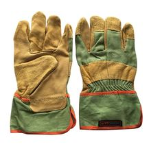 Leather Welding Gloves Full Palm Welding Long Gloves High Temperature Wear-resistant Fireproof Gloves Wear-resistant Leather wear resistant cowhide welding leather sleeves of welder clothing with high temperature resistance working safety sleeves g0823