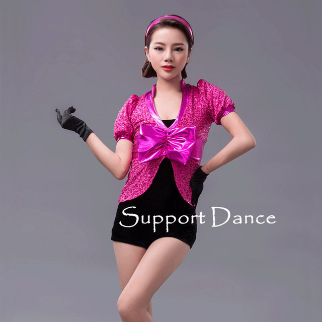 Girls Velvet Sequin Metallic Bow Latin Dress Women Short Sleeve Performance Costume Support Dance C280