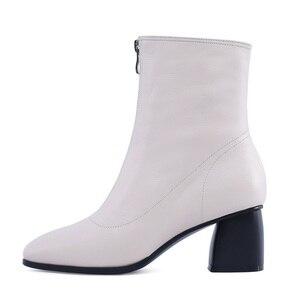 Image 4 - MORAZORA حجم كبير 34 42 جديد ماركة الموضة كامل بوط من الجلد الطبيعي حذاء نسائي بكعب عالٍ السيدات حذاء من الجلد للنساء أحذية الشتاء