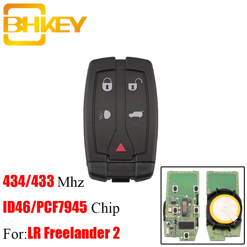BHKEY 5 Tasten 433/434 mhz Fernbedienung Auto schlüssel Fob ID46/PCF7945 Chip Für Land Rover Freelander 2 LR2 2008-2012 Sport Smart Schlüssel Karte
