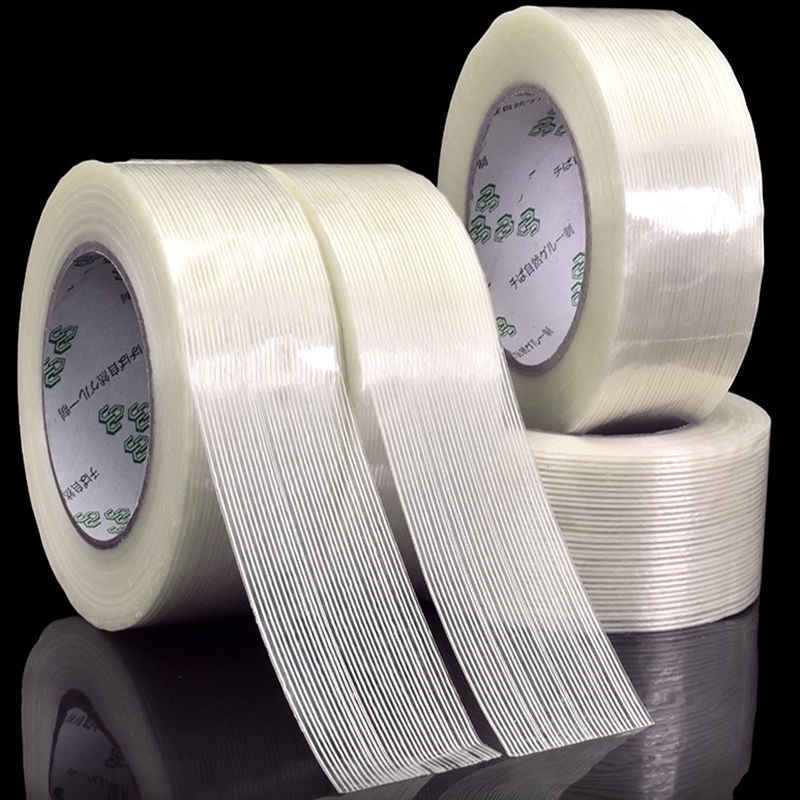 1pcs 50M  fiber tape strong glass fiber tape high temperature resistant non-marking single side stripe tape 5MM/10MM/15MM