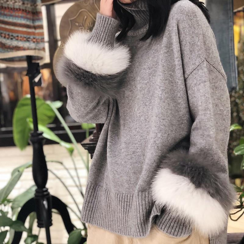 Высокий воротник кашемировые с длинными рукавами разрез свободные и меха лисы свитер с длинными рукавами; Бесплатная доставка