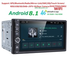 Android8.1 Universal 2 Din Car DVD Player Radio GPS Navigation Stereo 4G Wifi 1080P DVR DAB+ TPMS OBD2 Mirror-link USB SD SWC BT