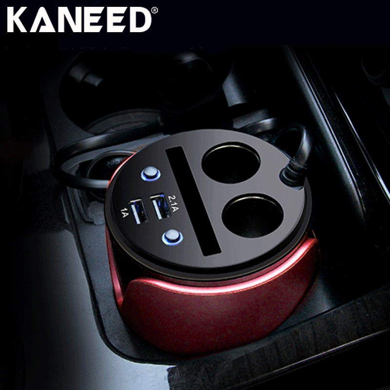 KANEED Dual Car Cigarette Lighter Socket Splitter Adapter DC 12-24V 3.1A Dual USB Fast Charging Car Cup Charger Card Holder yi yi mini car cigarette lighter charger w dual usb white 12 24v