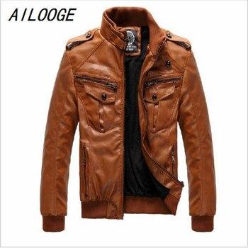 AILOOGE Men's Locomotive Leather Jacket Coat Thickening Fur Outerwear Slim Winter PU Jacket Brown , M-XXXL