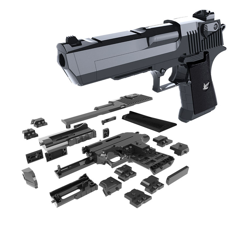 DIY Building Blocks Toy Gun Desert Eagle Assembly Toy Puzzle Brain Game Model Can Fire Bullets(Mung Bean) with Instruction Book