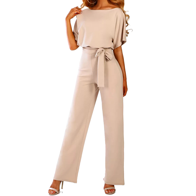 Jumpsuit For Women 2019 Short Sleeves Solid Playsuit Clubwear Straight Leg With Belt Female One Piece Suit Body Mujer Black Pink 2019 Official Women's Clothing
