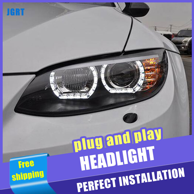 2PCS Car Style LED headlights for BMW M3 e92 e93 2008 2013 for M3 head lamp LED DRL Lens Double Beam H7 HID Xenon bi xenon lens