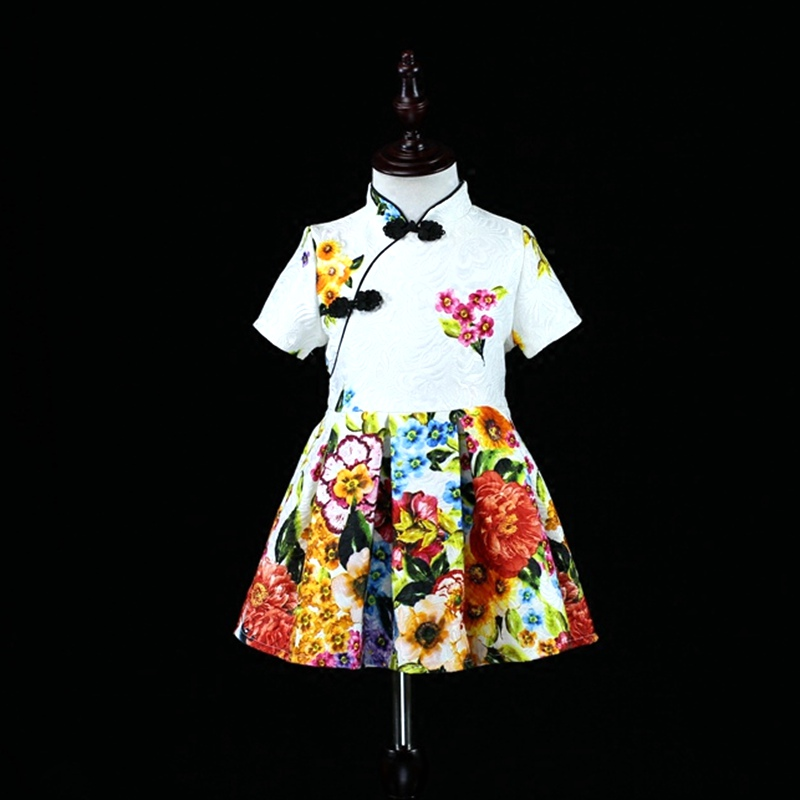 Brand kids short sleeve family matching clothes mom baby girl Chinese Improved cheongsam dress mother and daughter party dresses family clothing spring matching clothes mother daughter long sleeve dresses and vest two piece set matching mom daughter dress