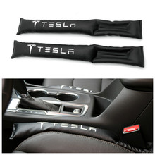 2x Car Styling Seat Gap Filler Organizer Leak Proof Pad PU Leather Fit for tesla Accessories Sticker Tesla MODEL 3 X S
