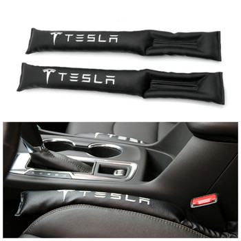 2x Car Styling Seat Gap Filler Organizer Leak Proof Pad PU Leather Fit for tesla Car Accessories Sticker for Tesla MODEL 3 X S